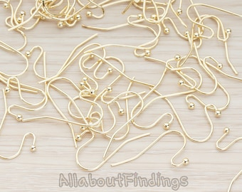 ERG652-G // Glossy Gold Plated Ball End French Earwire, 10 Pc