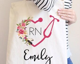 Cabas infirmière sac personnalisé sac cadeau pour infirmière stéthoscope sac LPN sac fourre-tout Floral Tote sac fourre-tout en toile sac RN cadeau sac cabas infirmière