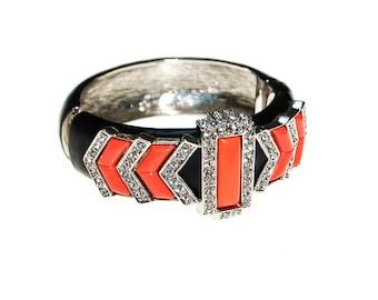 Kenneth Lane Black and Coral Bracelet