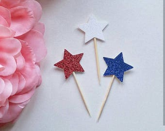 Red white and blue star cupcake toppers