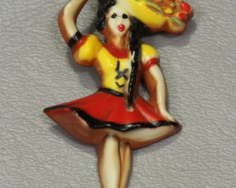 Art Deco Carved Painted Celluloid Pin Brooch Carmen Miranda Pin