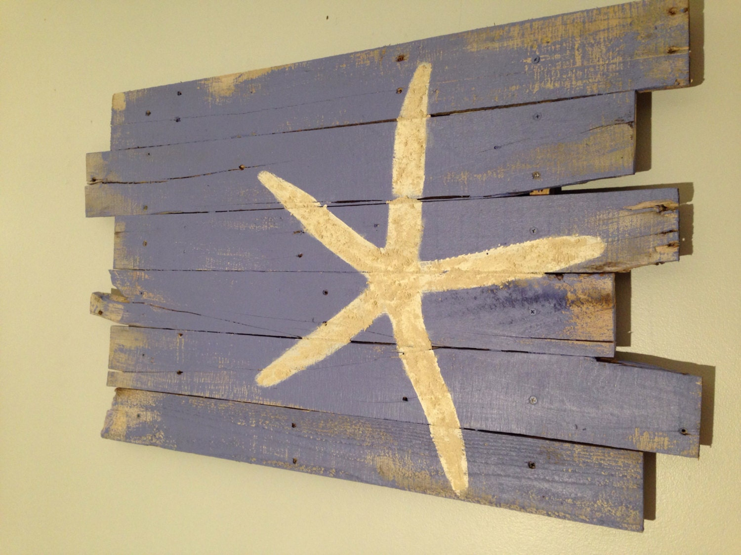 READY TO SHIP - Beach Decor Starfish Wall Hanging Periwinkle ...