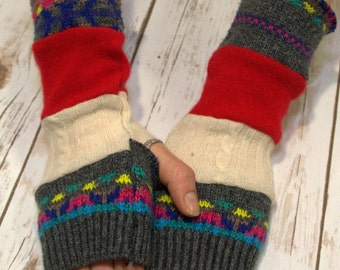 Upcycled Sweater Mittens- Fingerless Gloves - Winter Gloves-Recycled Mittens- Hippie Fingerless Gloves- Bohemian Gloves- Handmade - Warm