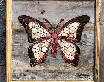 Butterfly - Salvaged Wine Cork - Reclaimed Wood - Natural Wall Art