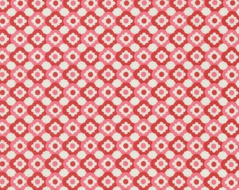 Verna Mosquera, Love & Friendship, Geometric Flower, Blush, pink, red, squares, dots, see coordinates, Free Spirit