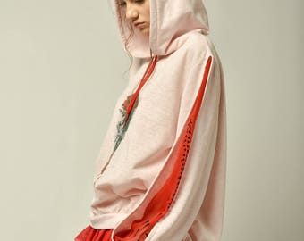 Valentines Day Gift for Her Pink Girlish Hoody with flower stamps and double sleeves