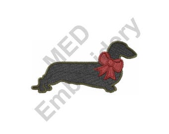 Dog - Machine Embroidery Design, Dachshund, Christmas Dachshund