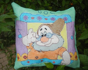 Doc the Dwarf from Snow White - Handmade Finished Cross Stitch Pillow, 29x28cm, 110x110 stitches