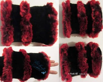 wrist warmers red plum and black faux-fur, pair of sleeves arm warmers winter Christmas new year party, birthday gift