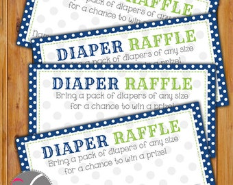 Diaper Raffle Card for Baby Shower Navy Lime Green Dots Invitation Inserts Printable PDF--Instant Download