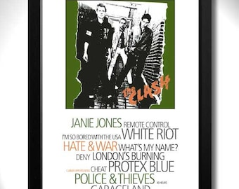 THE CLASH - Punk Album Limited Edition Unframed A4 Art Print with Song Titles