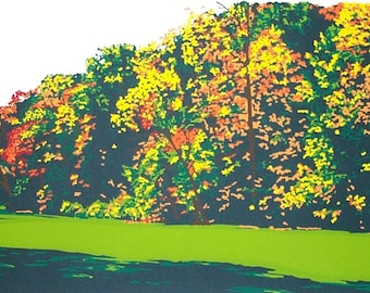 Autumn In Fern Hollow original screenprint signed and numbered