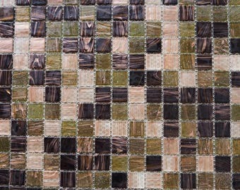 Vitreous glass mosaic tiles, 20x20 mm (3/4 inch),Semi-translucent, Forest brown