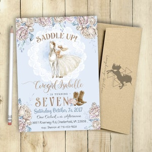 Cowgirl invitation etsy cowgirl invitation saddle up invitation first birthday invitation shabby chic invitation rustic invitation horse lace cowgirl filmwisefo Images