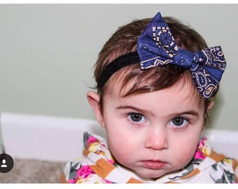 Air Force Blue | Hair Bow | Bow Tie | Paisley | Kids | Classic