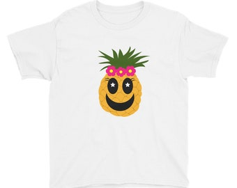 Pineapple with Flowers Youth Short Sleeve T-Shirt