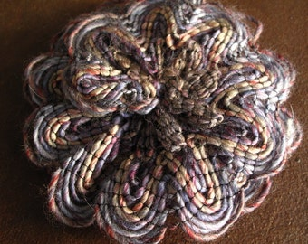 Hand Knit Flower Brooch - Purples