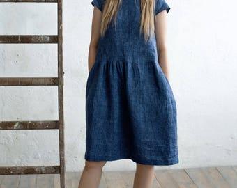 Linen dress/Denim dress/Blue dress/Midi dress/Linen clothes/Women's dresses/Summer dress/Maxi dress/Pockets inside dress