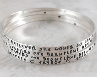 Mother's Day gift, Inspirational solid sterling silver bangle bracelet, personalized, mother gift, She believed she could so she did