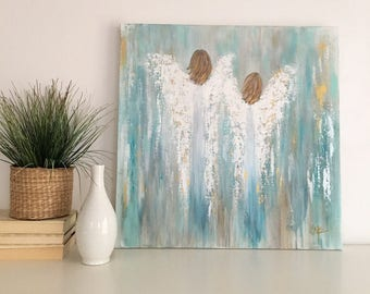 """Original Abstract Angel Painting on a 24x24x2 Gallery Wrapped canvas from the """"Brave Hope"""" collection."""