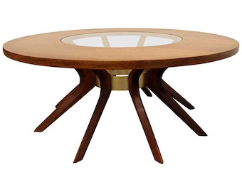 Mid-Century Coffee Table Broyhill Brasilia Danish Modern Round Walnut/Glass Sputnik Coffee Table
