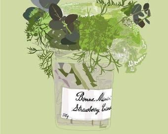 flowers in jam jar art print