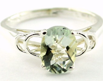 Green Amethyst, 925 Sterling Silver Ring, SR300