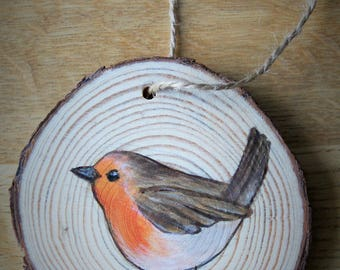 Painted robin tree slice hanging decoration