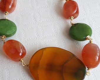 Gemstone Bracelet Agate Carnelian and Jade Green