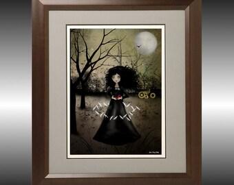 Steampunk Goth Girl Art Print -- Dragonflies Dance -- Clockworks - Dragonflies - Dark