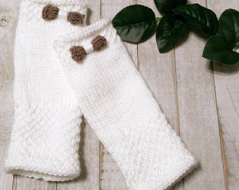 Womens White Fingerless Gloves Wrist Warmers with Bows