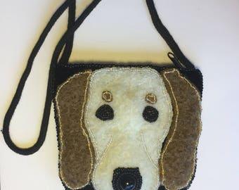 Black velvet and beaded dog purse