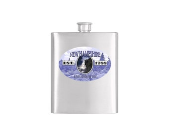 New Hampshire Old Man of the Mountain Flask - Stainless Steel 7 oz Liquor Hip Flask - Flask #317