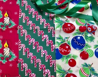 Vintage Christmas Wrapping Paper Ribbon Mid-century 1950s