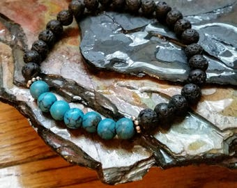Blue Turquoise 6mm Diffuser Bracelet with Lava Beads