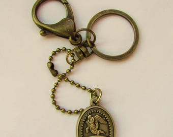 Bronze Plated Key Chain/Trusting Souls/Angel Charm Keychain/Baby Loss Key Ring/Miscarriage/Memorial/Loss of a Loved One