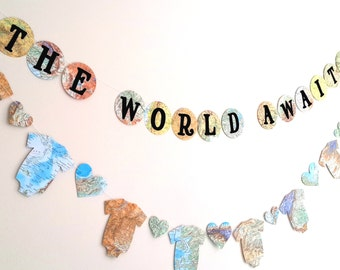 Travel Theme Baby Shower Banner- The World Awaits Baby Shower Banner- Map Baby Shower Decoration-Decorative Garland- Atlas Baby Shower Decor