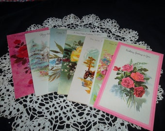 Vintage Birthday Greeting Cards, 7 different cards