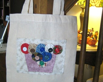 Small Yo Yo Patchwork Canvas Tote - Flower Pot - Gift Bag