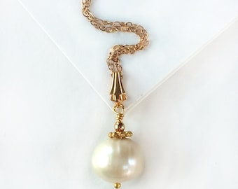 Baroque Pearl Solitaire Pendant - 14K Gold-Filled