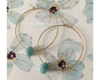 Zerille Hoops — turquoise howlite teardrop briolette simple minimalist ooak handmade nashville boho gypsy dainty wedding