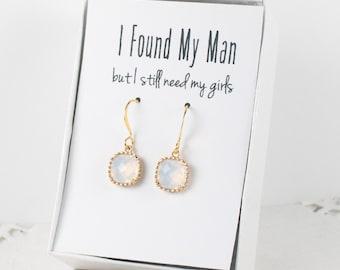 White Opal Quartz Gold Earrings, White Opal Gold Square Earrings, Opal Gold Earrings, Bridesmaid Earrings, Bridesmaid Gift, Wedding Jewelry