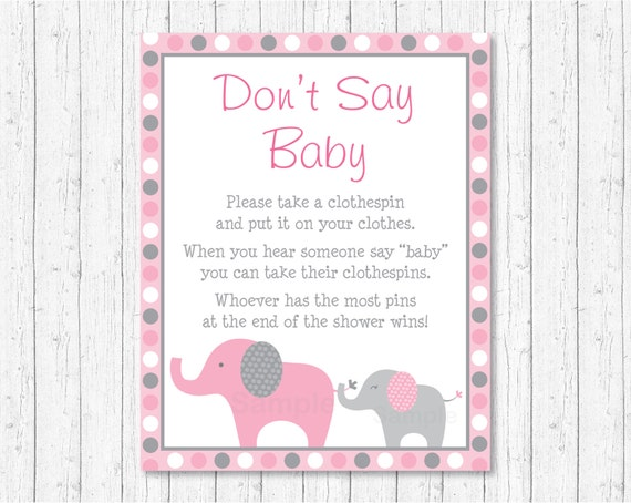 Pink Elephant Don T Say Baby Game Elephant Baby Shower