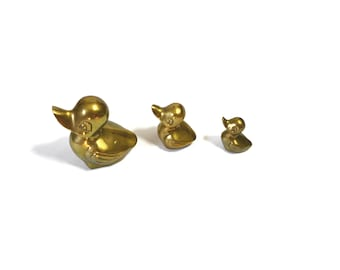 Vintage Brass Ducks Duck Figurines Mother and Baby Ducks Ducklings Trio of Ducks Nursery Decor Mothers Day Gift