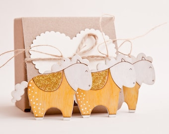 Gold Christmas Ornaments, Yellow Horse Holiday Ornaments, Wooden Horse Decorations, White Horse, Christmas Gifts, New Year Gift Set of 3