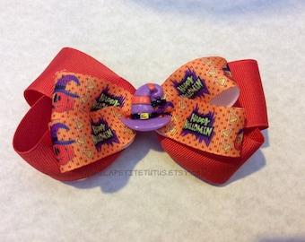 Halloween hairbow, headband, ribbon headband, witches hat headband, girls headband, toddler headband, baby headband, infant headband, prop