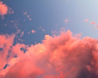 Pink Clouds Art Print, Blue Sky Nature Photography Bedroom Wall Art Sunset Wall Decor Home Decor Nature Decor