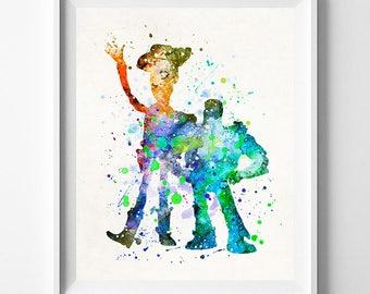 Toy Story, Buzz and Woody, Toy Story Art, Buzz Watercolor, Baby Boy Nursery, Woody Watercolor, Artwork, Nursery Wall, Type 2, Dorm Art