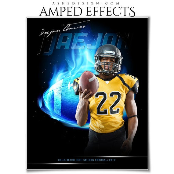 photoshop template amped effects sports poster fireball