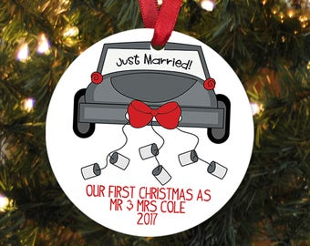 Our First Christmas Ornament - Personalized Christmas Ornament - Wedding Gift Christmas Ornament - Newlywed Christmas Gift